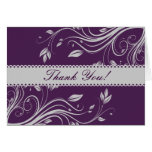 Purple and Gray Floral Swirls Thank You Note Stationery Note Card