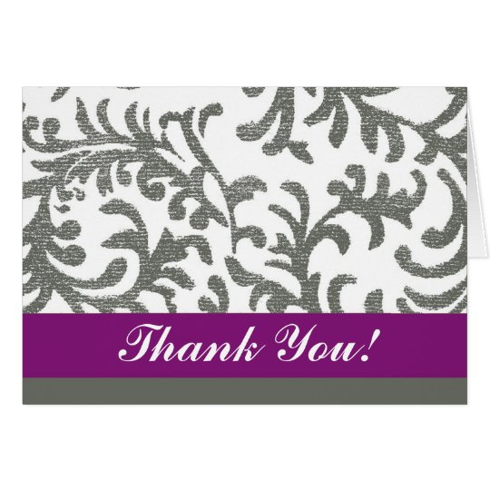 Purple and Gray Floral Thank You Card