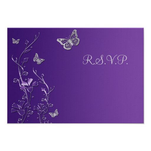 Purple and Gray Floral with Butterflies Reply Card Invitations