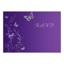 """Purple and Gray Floral with Butterflies Reply Card 3.5"""" X 5"""" Invitation Card"""