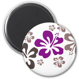 Purple and Gray Hibiscus Hawaii Souvenir Magnet