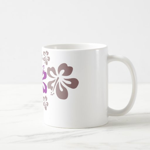 Purple and Gray Hibiscus Hawaii Souvenir Mugs