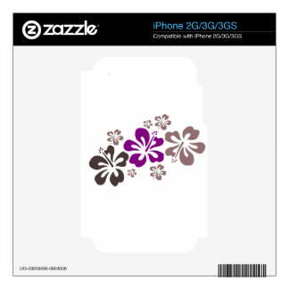 Purple and Gray Hibiscus Hawaii Souvenir Skins For iPhone 3G