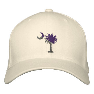 Purple and Gray Palmetto Embroidered Hat
