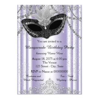 Purple and Gray Pearl Glitter Masquerade Party Card