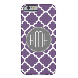 Purple and Gray Quatrefoil Pattern Monogram Barely There iPhone 6 Case