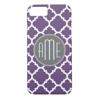 Purple and Gray Quatrefoil Pattern Monogram iPhone 8/7 Case