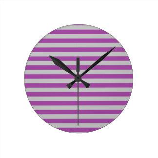 Purple and Gray Stripes Clock
