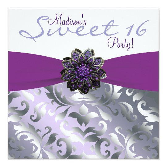 Purple and Gray Sweet 16 Birthday Party Card