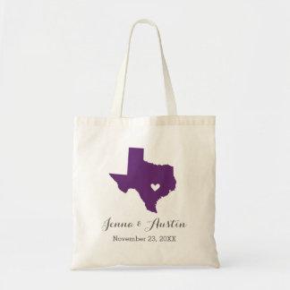 Purple and Gray Texas Wedding Welcome Tote Bag