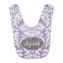 Purple and Gray Vintage Damask Pattern Monogram Bib
