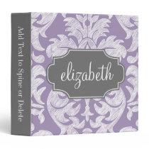 Purple and Gray Vintage Damask Pattern Monogram Binder