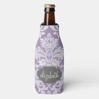 Purple and Gray Vintage Damask Pattern Monogram Bottle Cooler