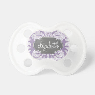 Purple and Gray Vintage Damask Pattern Monogram Pacifier