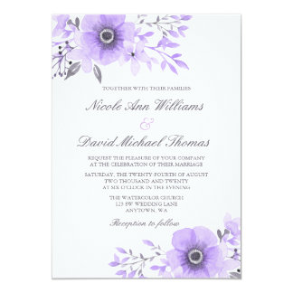 Purple and Gray Watercolor Anemone Wedding Card