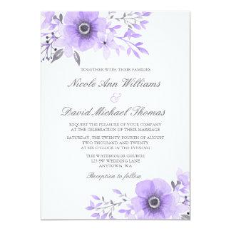 Purple and Gray Watercolor Anemone Wedding Invitation