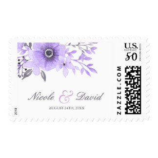 Purple and Gray Watercolor Anemone Wedding Postage
