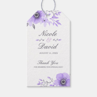 Purple and Gray Watercolor Floral Wedding Gift Tags