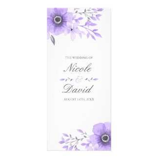 Purple and Gray Watercolor Floral Wedding Program