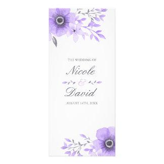 Purple and Gray Watercolor Floral Wedding Program