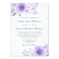 Purple and Gray Watercolor Floral Wedding v2 Card