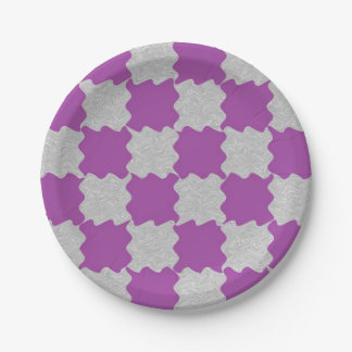 Purple and Gray Waves Paper Plates