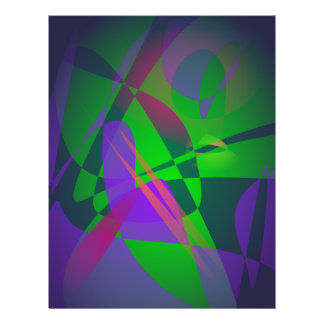 Purple and Green Abstract Composition Gradation Custom Flyer