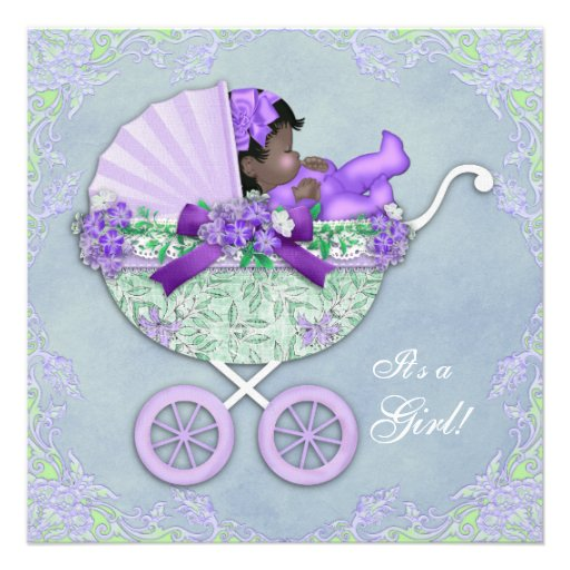 Purple and Green African American Baby Girl Shower Invites