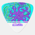 Purple And Green Astrum Vita Abstract Art Colorful Guitar Pick