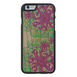 Purple And Green Astrum Vita Abstract Art Carved® Walnut iPhone 6 Slim Case