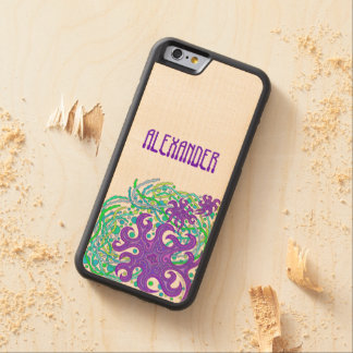 Purple And Green Astrum Vita Abstract Art Carved® Maple iPhone 6 Bumper Case