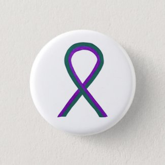 Purple and Green Awareness Ribbon Button Pin