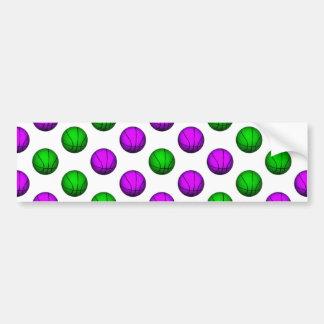 Purple and Green Basketball Pattern Bumper Sticker