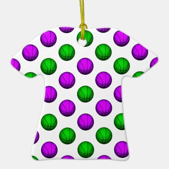 Purple and Green Basketball Pattern Ceramic Ornament