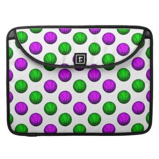 Purple and Green Basketball Pattern MacBook Pro Sleeve