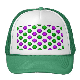 Purple and Green Basketball Pattern Trucker Hat