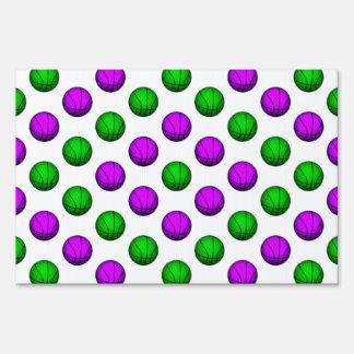 Purple and Green Basketball Pattern Yard Signs