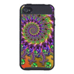 Purple and Green Bokeh Fractal Pattern Cover For iPhone 4