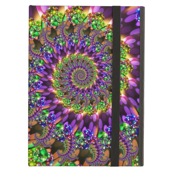 Purple and Green Bokeh Fractal Pattern Cover For iPad Air