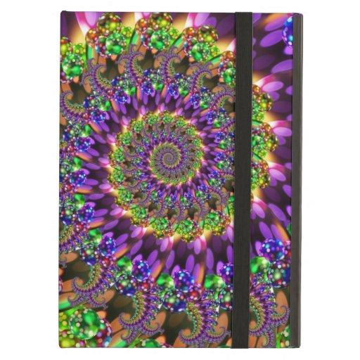 Purple and Green Bokeh Fractal Pattern iPad Case