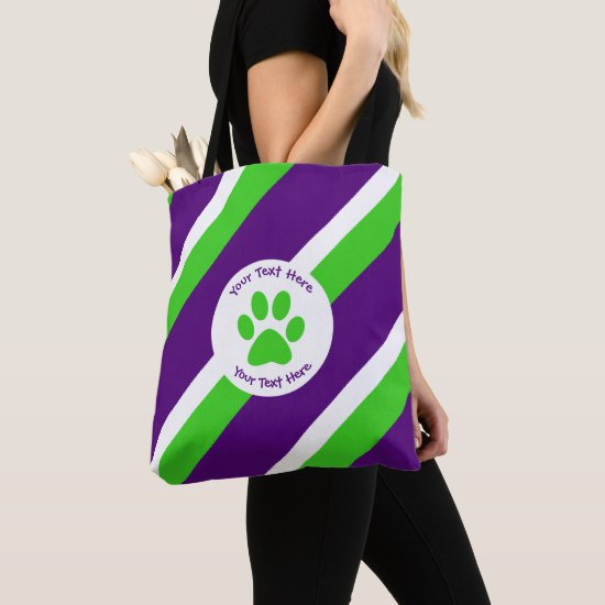 [Purple and Green] Bold Stripes Tote Bag