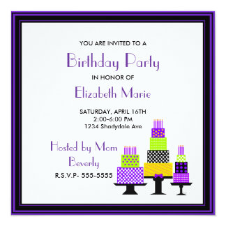 Purple and Green Cakes Birthday Party Card