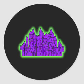 Purple and Green Castle. Round Stickers
