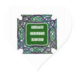 Purple and Green Celtic Knotwork Frames Heart Sticker