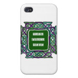 Purple and Green Celtic Knotwork Frames iPhone 4 Cover
