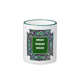 Purple and Green Celtic Knotwork Frames Mug