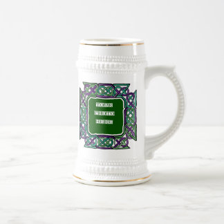 Purple and Green Celtic Knotwork Frames 18 Oz Beer Stein
