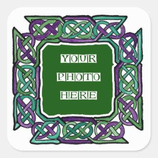Purple and Green Celtic Knotwork Frames Square Sticker