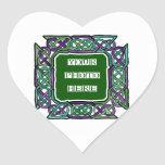 Purple and Green Celtic Knotwork Frames Heart Stickers
