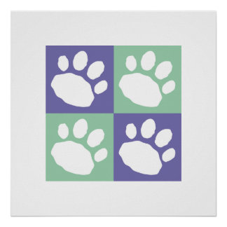 Purple and Green Checkerboard Paw Print